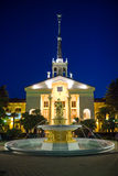 Fountain nea Seaport Building in Sochi city. Royalty Free Stock Image