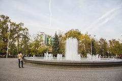 Fountain near Arch of saint Georgiy and bust of Geogiy Zhukov Royalty Free Stock Photo