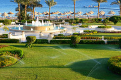 The fountain near beach at the luxury hotel Royalty Free Stock Images