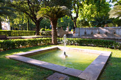 Fountain near cathedral at Palma de Mallorca Royalty Free Stock Photography
