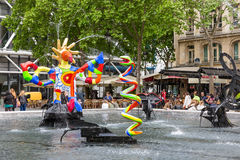 Fountain near Centre Pompidou with modern art in Paris Royalty Free Stock Photos