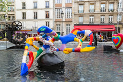Fountain near Centre Pompidou with modern art in Paris Stock Photo
