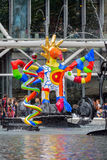 Fountain near Centre Pompidou with modern art in Paris Royalty Free Stock Image