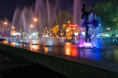 Fountain near the circus in Almaty Stock Images
