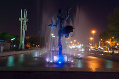 Fountain near the circus in Almaty Royalty Free Stock Image