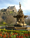 Fountain near Edinburgh Castle Royalty Free Stock Photo