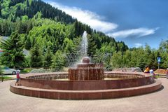 Fountain near highland ice complex MEDEO Almaty,. Republic of Kazakhstan Stock Photography