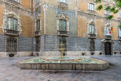 Fountain near the historic Palace of Marques de Dos Aguas Royalty Free Stock Photography