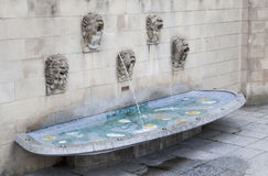 Fountain near Notre Dame cathedral in Luxembourg Stock Photo