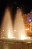 The fountain. Near Odessa Opera Theater at night backlighted by artificial lihgting Stock Photos