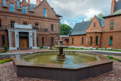 The fountain near the old castle Royalty Free Stock Images