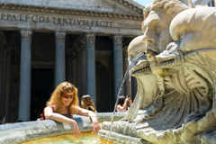 Fountain near the Pantheon in Rome Royalty Free Stock Image