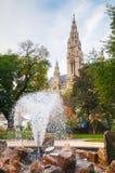 Fountain near Rathaus (Cityhall) in Vienna Royalty Free Stock Photo