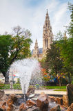 Fountain near Rathaus (Cityhall) in Vienna Stock Photo