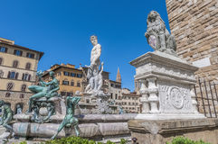 The Fountain of Neptune by Ammannati in Florence, Italy Stock Images