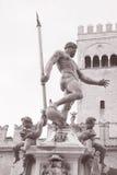 Fountain of Neptune, Bologna. Fountain of Neptune - Fontana di Nettuno by Giambologna 1567, Piazza Maggiore Square, Bologna, Italy in Black and White Sepia Tone royalty free stock photo