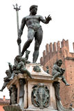 Fountain of Neptune in Bologna, Italy. With white background Stock Photo