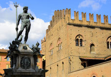 Fountain of Neptune in Bologna, Italy. The Fountain of Neptune is a monumental civic fountain located in the eponymous square, Piazza Nettuno, next to Piazza stock photos