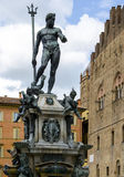 Fountain of Neptune in Bologna, Italy. The Fountain of Neptune is a monumental civic fountain located in the eponymous square, Piazza Nettuno, next to Piazza royalty free stock images