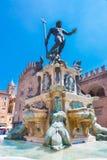 Fountain of Neptune, Bologna, Italy. The Fountain of Neptune, monumental civic fountain located in the eponymous square Piazza Nettuno next to Piazza Maggiore stock photo