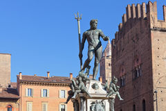 Fountain of Neptune in Bologna in sunny day Stock Image