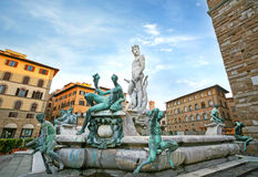 Fountain of Neptune in Firenze. In early morning Royalty Free Stock Images