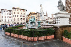 Fountain of Neptune in Florence city in autumn Stock Photos