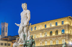 The Fountain of Neptune in Florence, Italy. The Fountain of Neptune by Bartolomeo Ammannati in front of the Palazzo Vecchio at Piazza della Signoria in Florence Stock Images