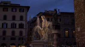 The Fountain of Neptune is a fountain in Florence, Italy Palazzo Vecchio slow motion. Situated on the Piazza della Signoria in front of the Palazzo Vecchio stock video footage