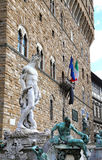 Fountain of Neptune in Florence and Palazzo Vecchio Stock Photo