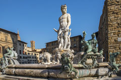 Fountain of Neptune in Florence. Fountain of Neptune on the Piazza della Signoria in front of the Palazzo Vecchio in Florence, Italy Stock Images