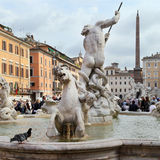 The Fountain of Neptune is a fountain in Rome Stock Images