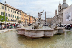 The Fountain of Neptune is a fountain in Rome Stock Photos