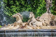 Fountain of Neptune Fuente de Neptuno one of the most famous l Royalty Free Stock Photography