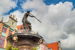Fountain of the Neptune in Gdansk Stock Images
