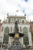 Fountain of Neptune in Gdansk Stock Image
