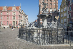 Fountain of neptune gdansk poland europe Royalty Free Stock Images