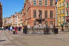 The Fountain of Neptune in Gdansk Royalty Free Stock Photo
