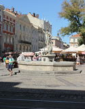 Fountain Neptune. Kopaná with the figure of Neptune or fountain Neptune - one of the four fountains situated one at each corner of the Market Square in Lviv Royalty Free Stock Images