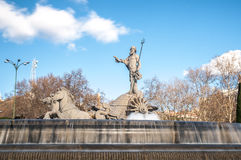 Fountain of Neptune in Madrid, Spain. Royalty Free Stock Images
