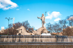 Fountain of Neptune in Madrid, Spain. Stock Images