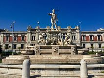 The fountain of Neptune, Messina, Sicily. In front of the Government Palace, Italy royalty free stock photography