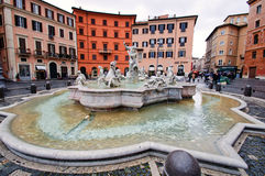 The fountain of Neptune on Navona square in Rome, Italy. Royalty Free Stock Photo