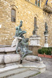 Fountain of Neptune near the Old Palace (Palazzo Vecchio) on Squ Stock Images