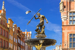 Fountain of the Neptune in old town of Gdansk Royalty Free Stock Photo