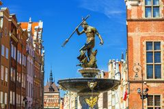 Fountain of the Neptune in old town of Gdansk. Poland Royalty Free Stock Photography