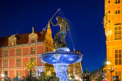 Fountain of the Neptune in old town of Gdansk. Poland Royalty Free Stock Images