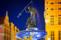 Fountain of the Neptune in old town of Gdansk. Poland Stock Photo
