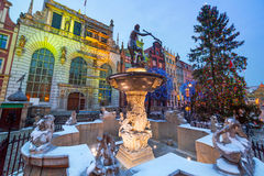 Fountain of the Neptune in old town of Gdansk Stock Images