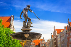 Fountain of the Neptune in old town of Gdansk Stock Image